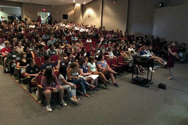 Above, Torrington HIgh School freshmen attend an orientation in the school auditorium in 2016. A presentation on renovating the school or building a new one was held at Monday's City Council meeting.