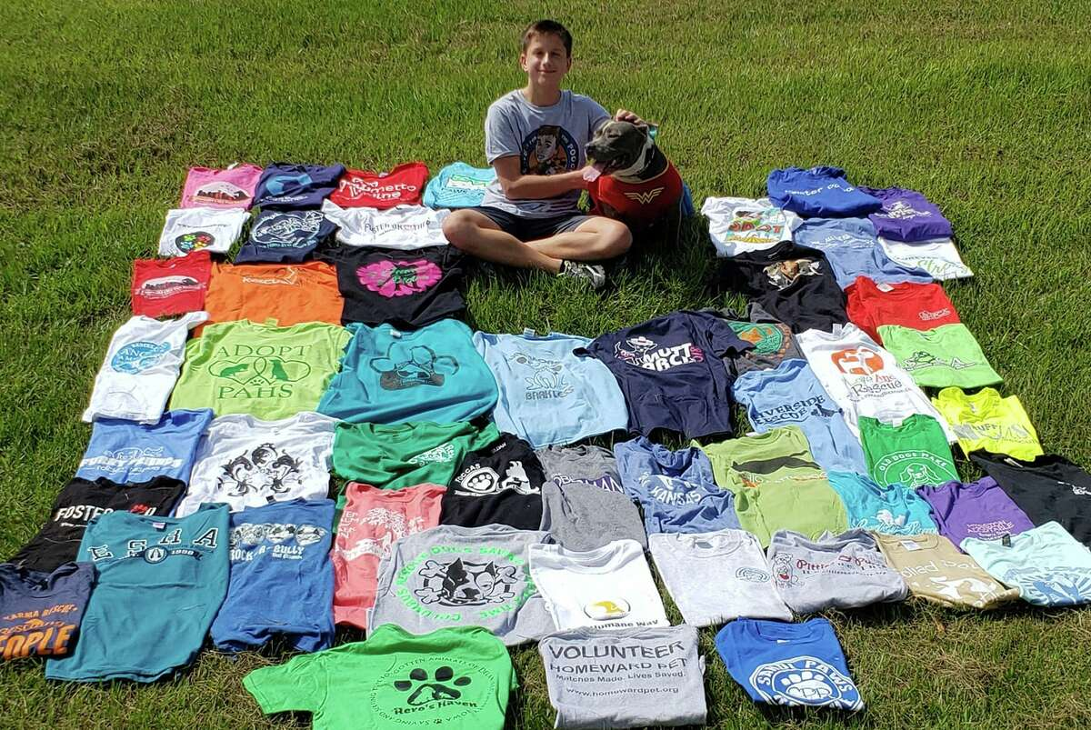In an effort to raise awareness on spaying and neutering animals, Jayson Kimberly of Montgomery is wearing a different animal shelter T-shirt to school every day as part of his community service project, Leave it for the Pooch.