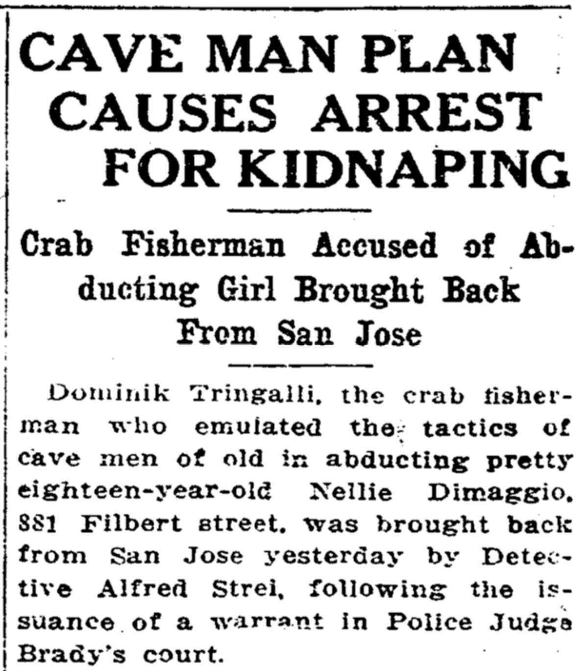 The 1917 San Francisco Chronicle article from the kidnapping of Nellie DiMaggio.