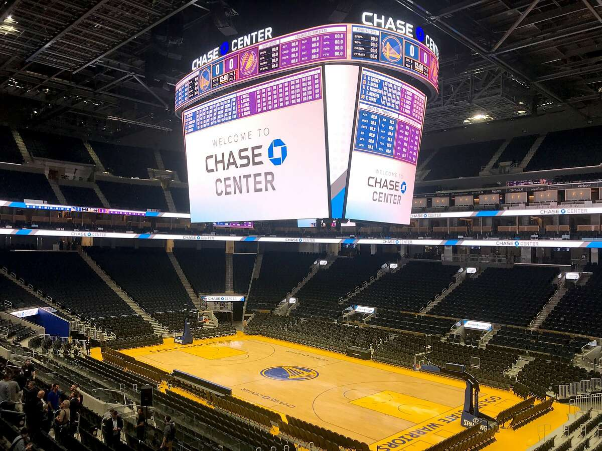 The Warriors' basketball court is seen inside the Chase Center on Monday, Aug. 26, 2019 in San Francisco, Calif.