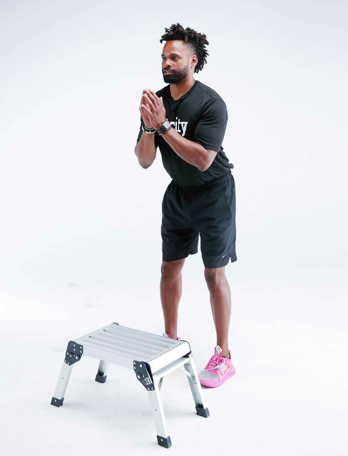 Fit City trainer Leo Johnson demonstrates the box jump. Step 1.