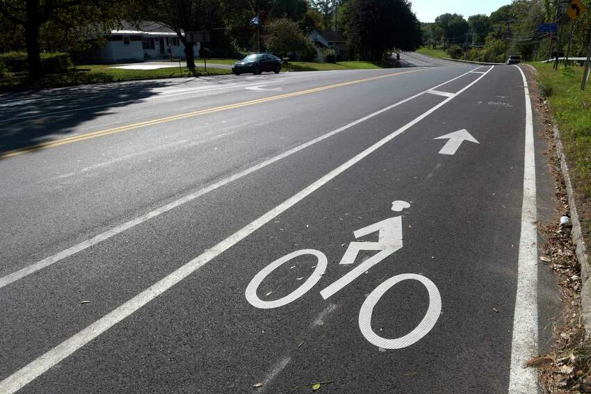 A view of Van Rensselaer Blvd., with new bike lanes, seen here on Sunday, Oct. 15, 2017, in Menands, N.Y. The layout of the road has been changed to try to improve safety along the route. (Paul Buckowski / Times Union)
