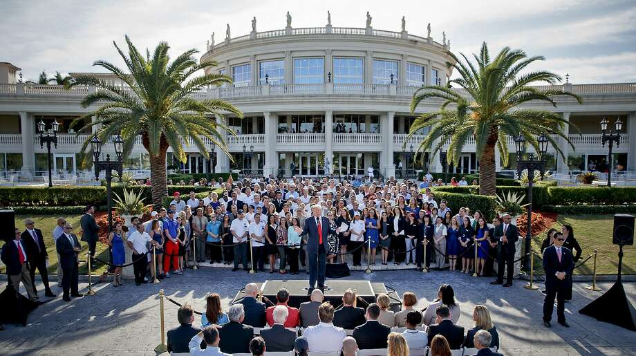 Donald Trump, then a presidential candidate, speaks in October 2016 at his Trump National Doral Miami resort. Facing criticism, Trump dropped plans to host a summit at the club. Photo: Evan Vucci / Associated Press 2016