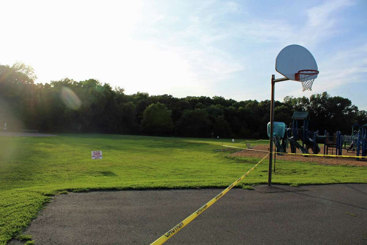 Riverfield Elementary School's soccer field is closed for PAH remediation.