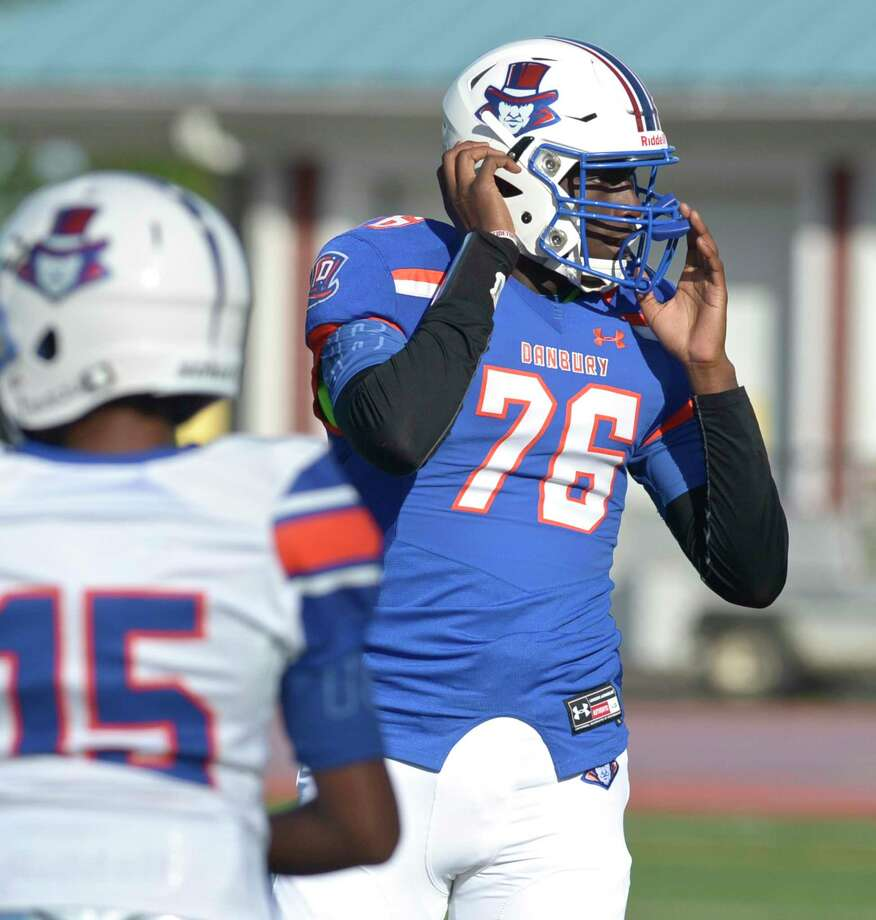 Danbury High School's Jah Joyner, who had 11 sacks last year, leads both the offensive and defensive lines folr the Hatters. Photo: H John Voorhees III / Hearst Connecticut Media / The News-Times