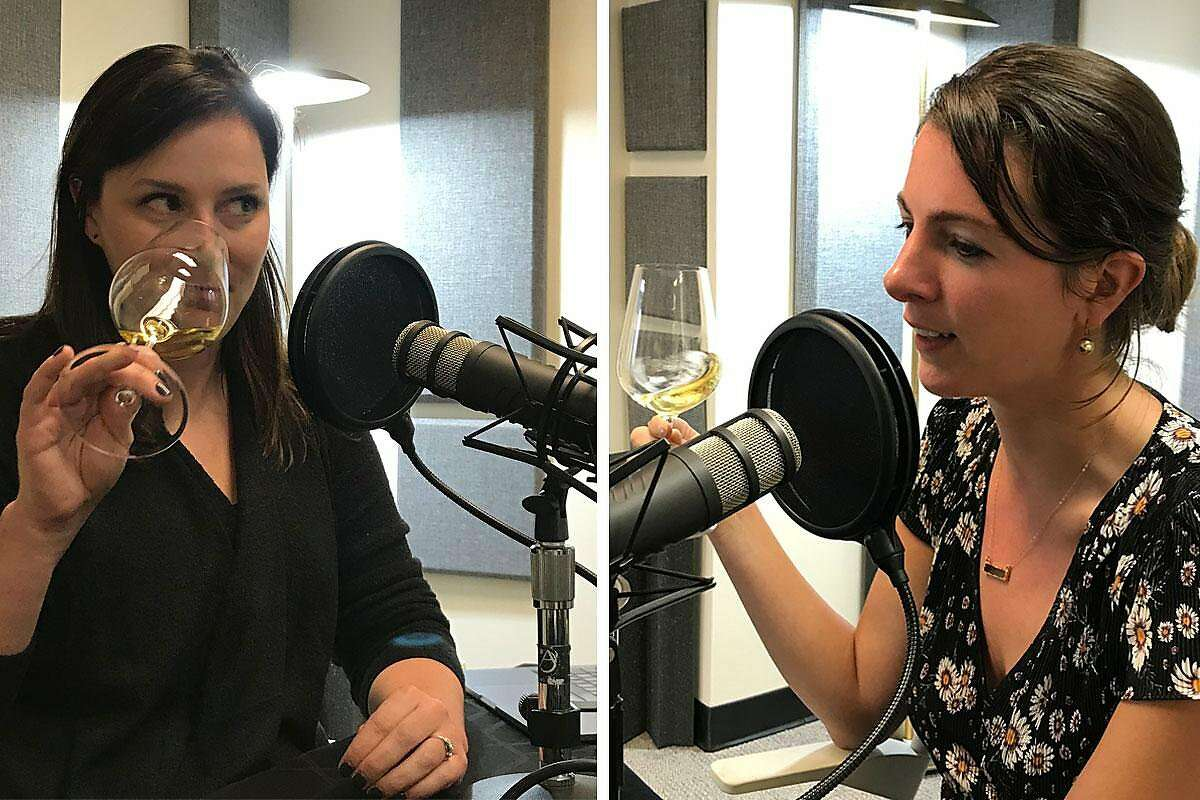 Editor in Chief Audrey Cooper and Wine Critic Esther Mobley during a recording of Fifth & Mission