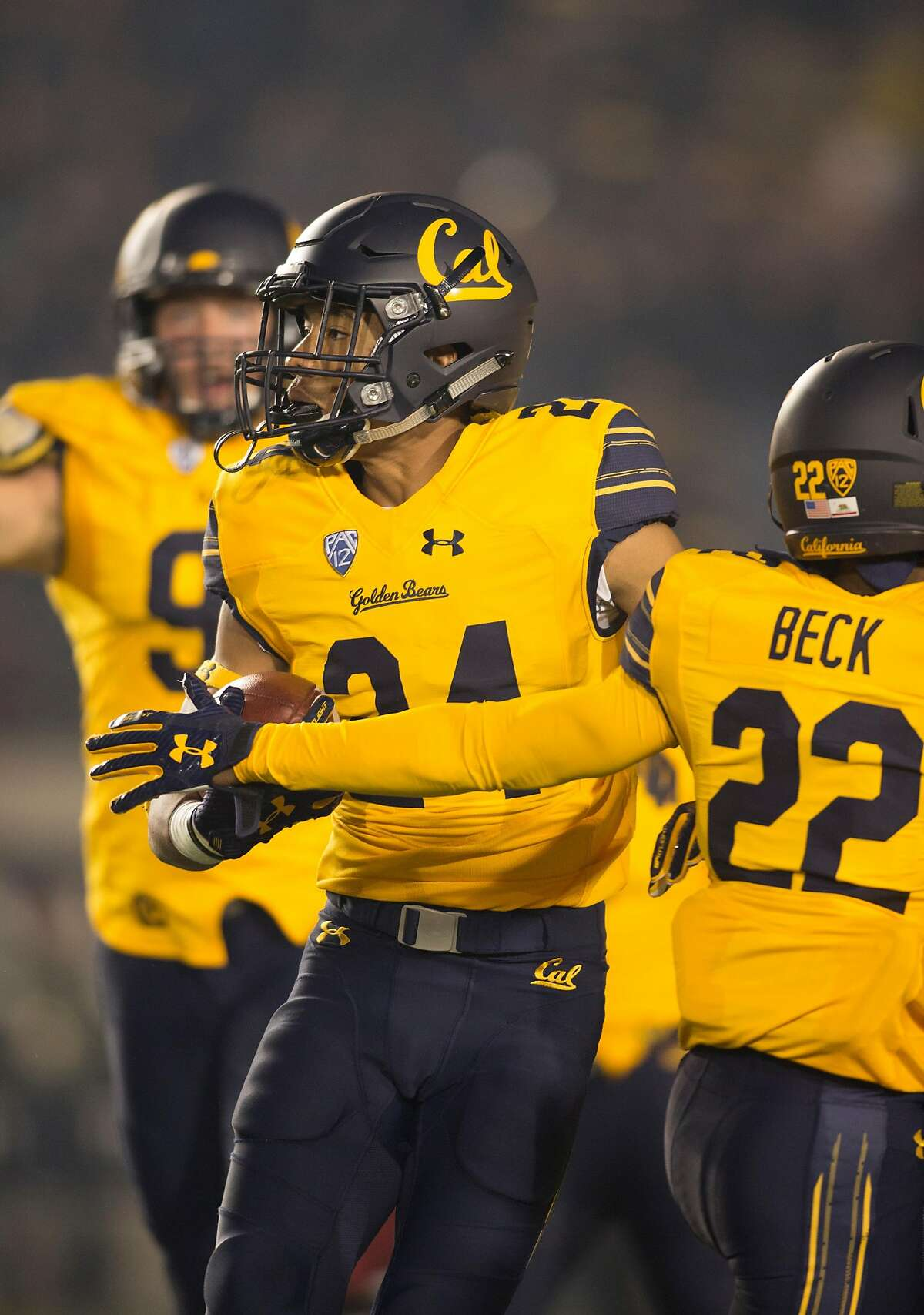 California's Camryn Bynum (24) celebrates his interception against Washington State during the first quarter of an NCAA college football game, Friday, Oct. 13, 2017, in Berkeley, Calif. (AP Photo/D. Ross Cameron)