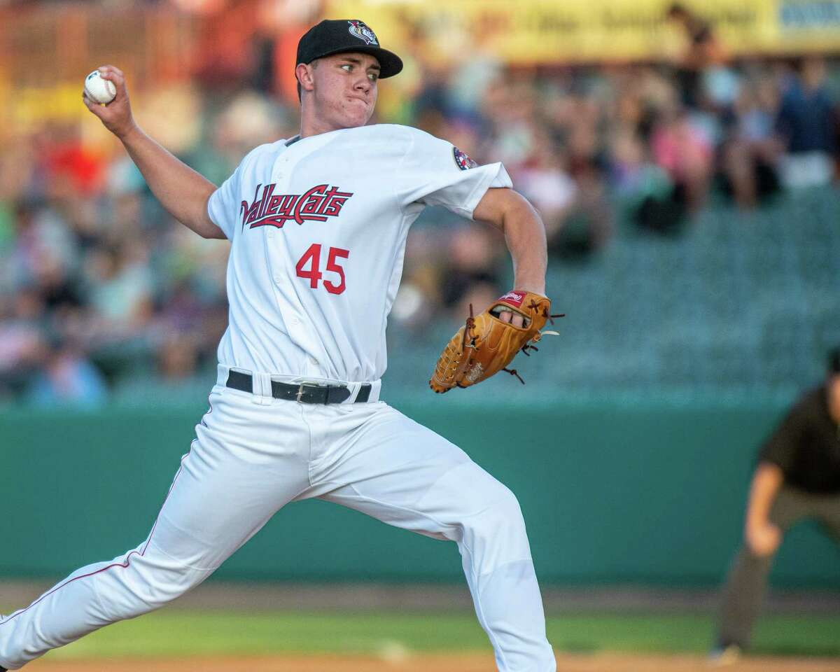 Tri-City ValleyCats starting pitcher Hunter Brown during a game against the Staten Island Yankees at the Joseph L. Bruno Stadium in Troy NY on Monday, Aug. 26, 2019 (Jim Franco/Special to the Times Union.)