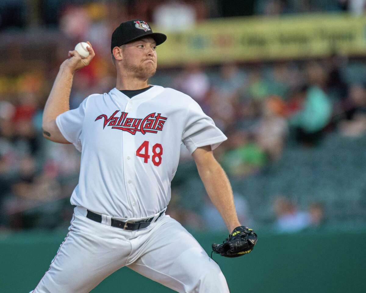 Tri-City ValleyCats pitcher Derek West during a game against the Staten Island Yankees at the Joseph L. Bruno Stadium in Troy NY (Jim Franco/Special to the Times Union.)