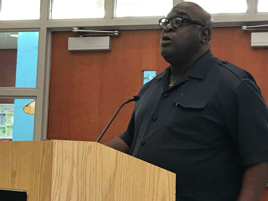 The Rev. Boise Kimber on Monday called on the Board of Education to hire lawyers to investigate whether member Ed Joyner has been protecting his adult children who are employed in the district. Photo: Brian Zahn /Hearst Connecticut Media /