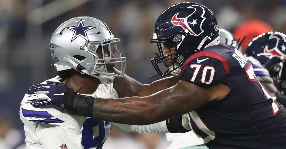 PHOTOS: Cowboys 34, Texans 0 Taco Charlton #97 of the Dallas Cowboys and Julien Davenport #70 of the Houston Texans in the first quarter during a NFL preseason game at AT&T Stadium on August 24, 2019 in Arlington, Texas. (Photo by Ronald Martinez/Getty Images) Browse through the photos to see action from the Texans' preseason loss to the Cowboys on Saturday. Photo: Ronald Martinez/Getty Images