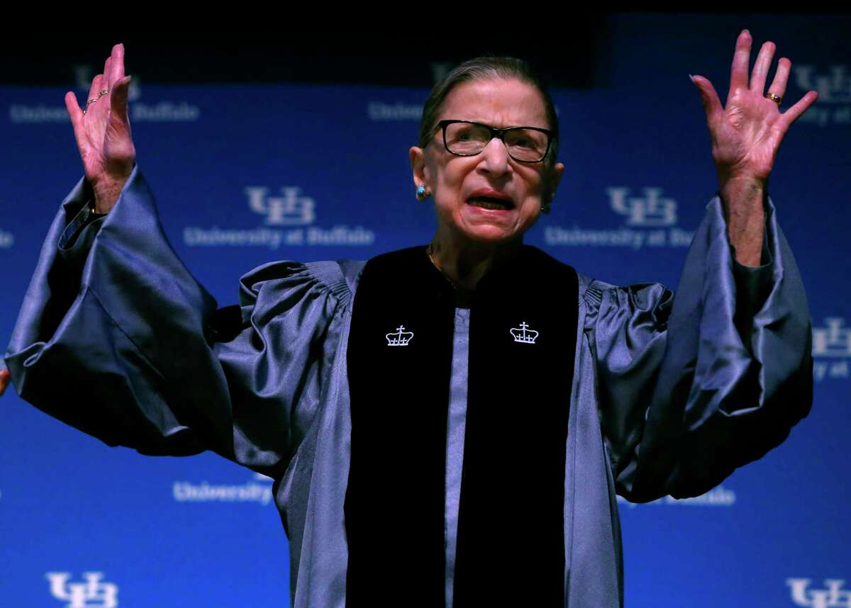 Supreme Court Associate Justice Ruth Bader Ginsburg speaks about her work and gender equality following a ceremony where she received a SUNY Honorary Degree from the University at Buffalo, Monday, Aug. 26, 2019, in Buffalo N.Y. (AP Photo/Jeffrey T. Barnes)