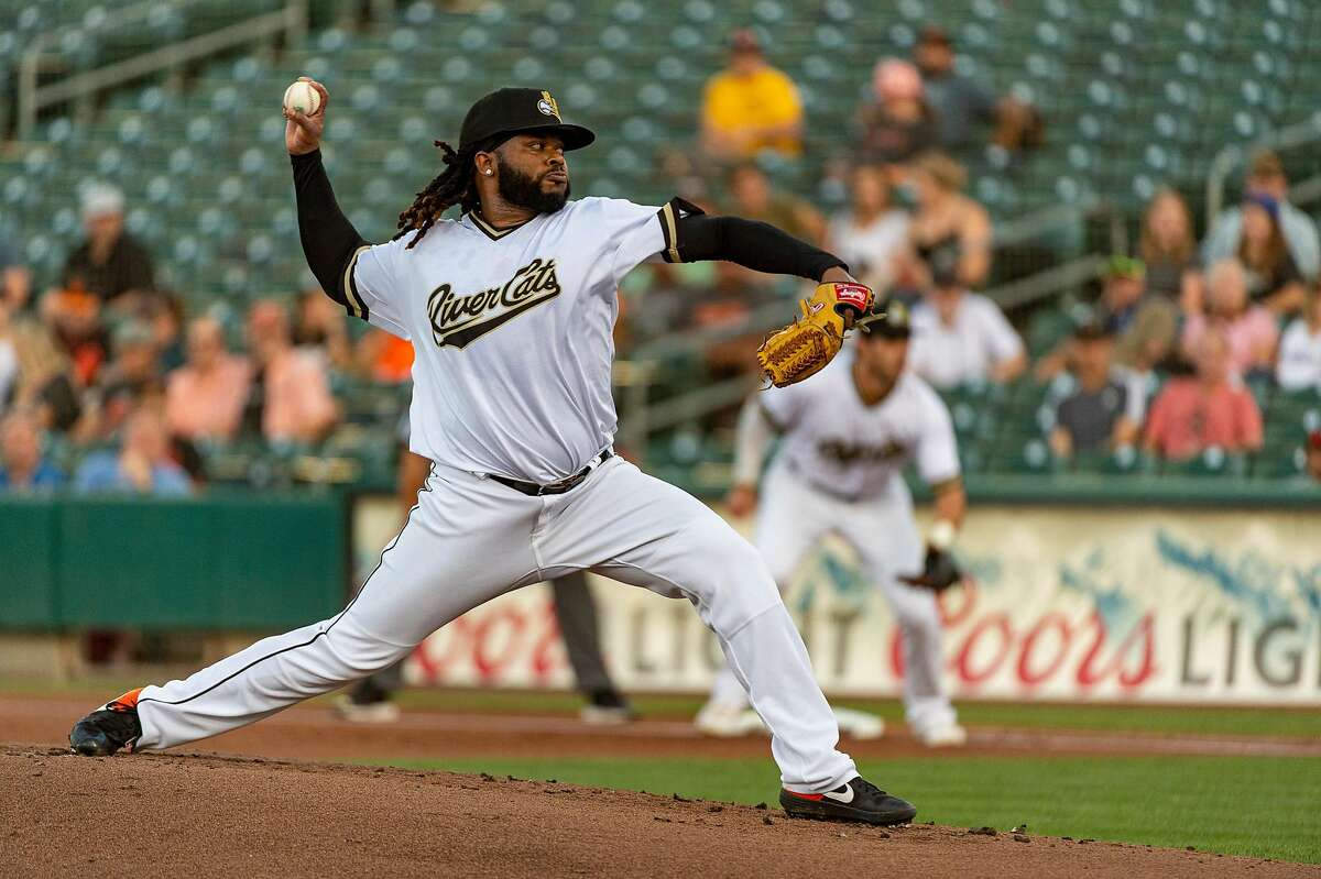 Giants pitcher Johnny Cueto makes one his first rehab starts for the Sacramento River Cats as he pitches against the Reno Aces at Raley Field, Monday Aug 26, 2019.