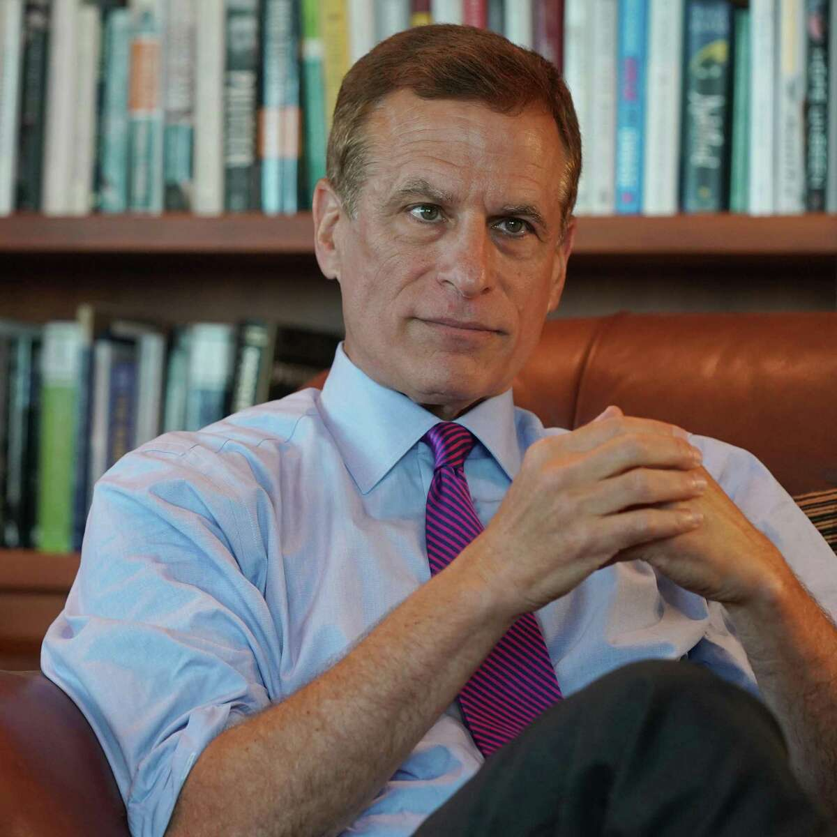 Bank President president Robert Kaplan is pictured during an interview at the Federal Reserve Bank of Dallas, at his office in downtown Dallas on Friday, August 16, 2019. CREDIT: Louis DeLuca for The Houston Chronicle