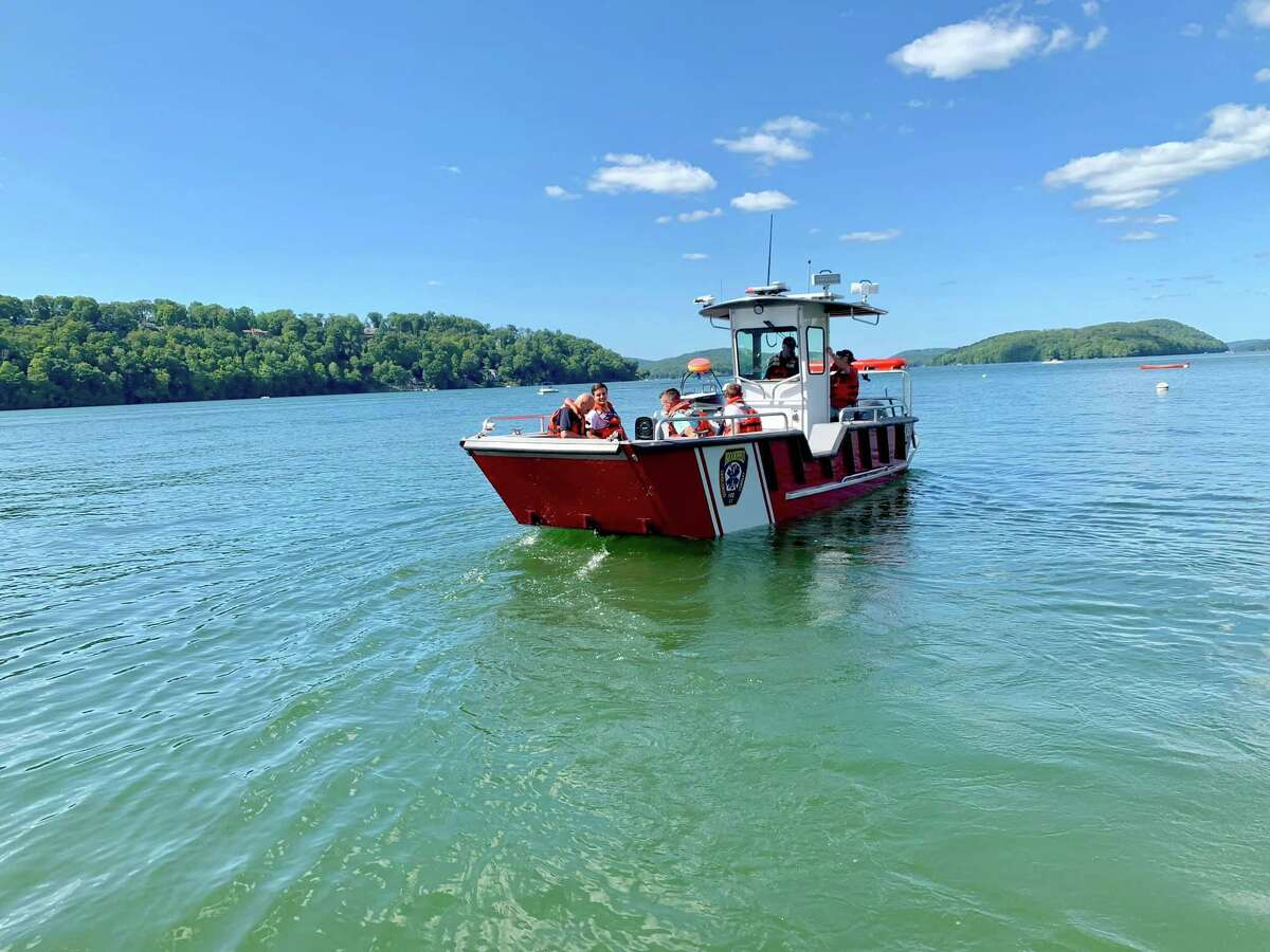 """A person with a broken leg in Candlewood Lake near """"Chicken Rock,"""" was rescued by Brookfield Volunteer Fire Department's Candlewood Co. firefighters on Monday, Aug. 26, 2019. Firefighters used their new Marine 25 boat that went into service last week."""