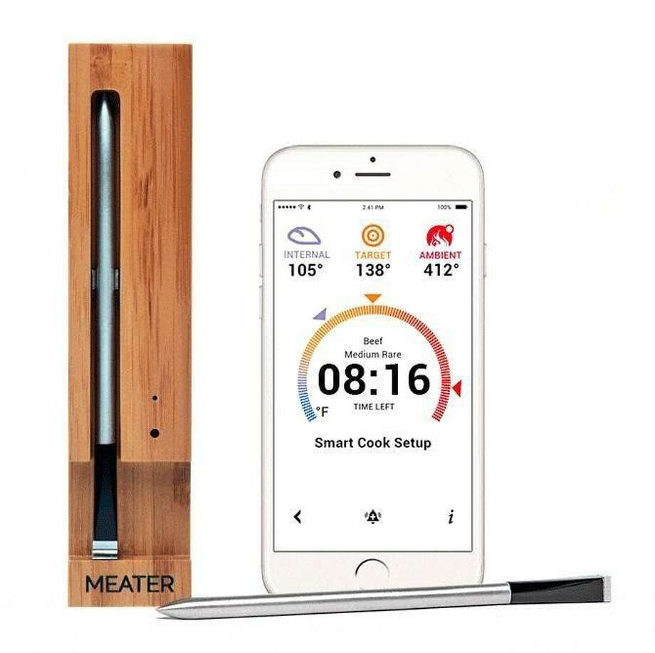 A new grill thermometer uses Bluetooth technology to determine when steaks are ready.