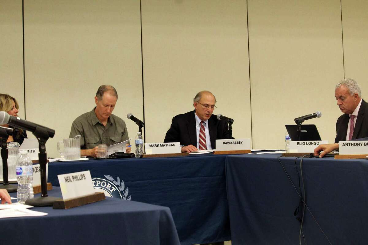 Interim Superintendent David Abbey, left, discussed options for redistricting at Coleytown Middle School at the BOE meeting Monday night. Taken Aug. 26, 2019 in Westport, CT.