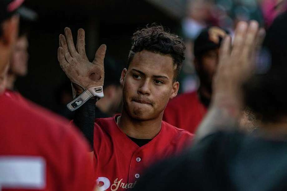 Great Lakes Loons' Leonel Valera is congratulated after hitting the first inside-the-park grand slam home run in team history during Monday's 11-7 win over the Lansing Lugnuts in Lansing. (Photo provided by Great Lakes Loons)