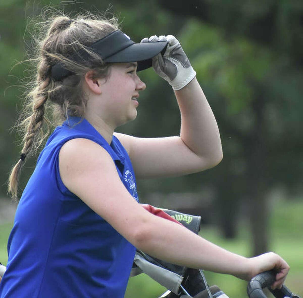 Marquette Catholic sophomore Audrey Cain shot 80 Monday at the Metro East Shootout girls golf tournament.