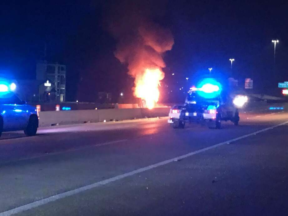 A Beaumont man was killed late Monday night after driving east in the west bound lanes of Interstate 10. The driver, Aaron Wolfe, 40, lost control of the vehicle near Adams Bayou and struck a concrete wall where the car erupted in flames. Photo: Photo Provided By Eric Williams