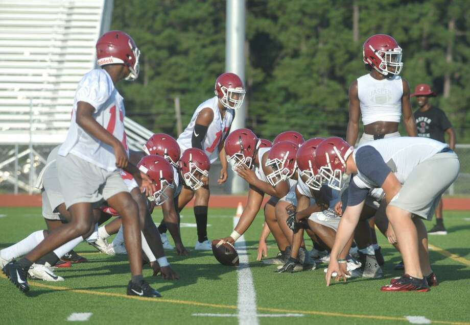 Jasper lines up to run a play during practice. The Bulldogs hope to continue their district dominance and make a run at state. Photo by Matt Faye/The Enterprise Photo: Matt Faye/The Enterprise
