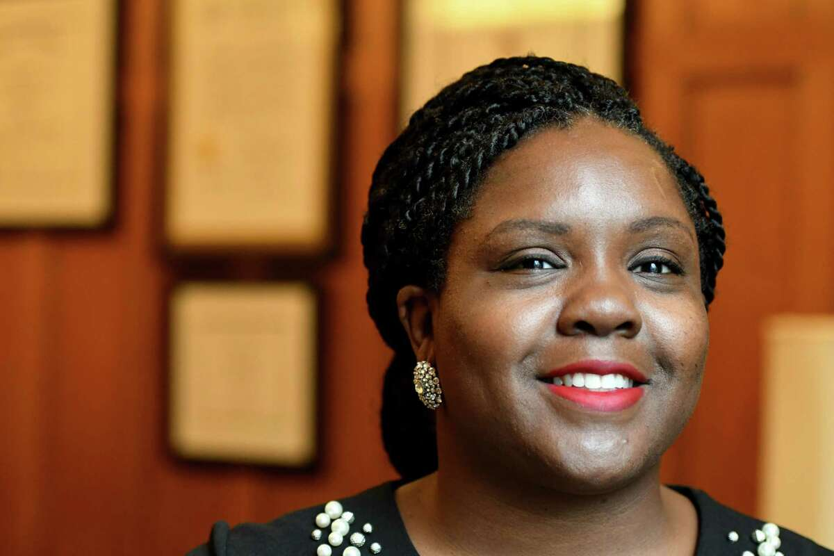 Shontell Smith, chief counsel to the Senate Democratic Conference, is pictured at her Capitol office on Monday, July 22, 2019, in Albany, N.Y. (Will Waldron/Times Union)
