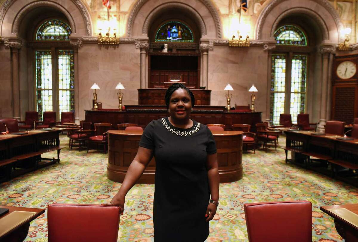 Shontell Smith, chief counsel to the Senate Democratic Conference, is pictured on the Senate floor on Monday, July 22, 2019, in Albany, N.Y. (Will Waldron/Times Union)