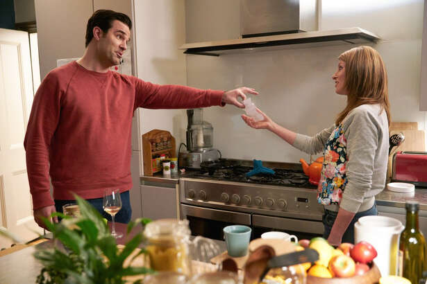 "Sharon Horgan and Rob Delaney in season three of ""Catastrophe."" MUST CREDIT: Mark Johnson - Amazon Prime Video."