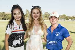 Simone Harper, Ana Michelle Wilson and Rebecca Kaykas-Wolff attend 2019 Oyster Cup Charity Polo Tournament on August 24th 2019 at Cerro Pampa Polo Club in Petaluma.