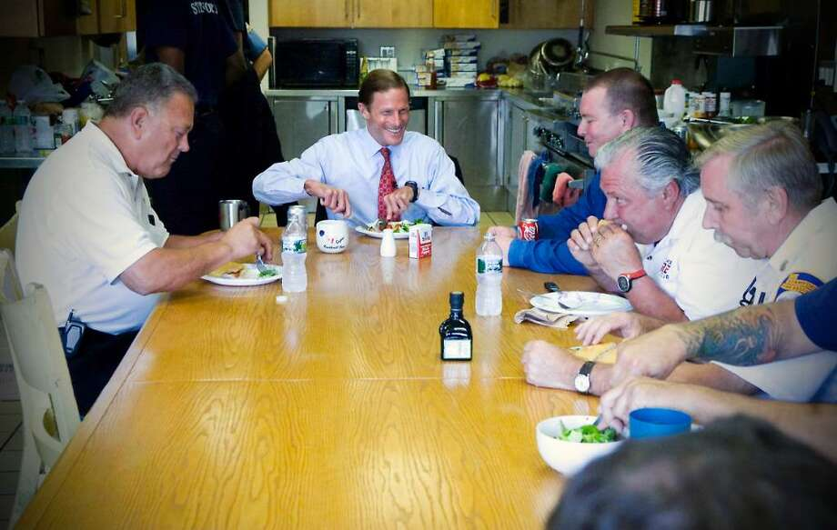 Democratic U.S. Senate candidate Richard Blumenthal tours the Stamford Central Firehouse and has lunch with a group from the house in Stamford, Conn. on Wednesday August 4, 2010. Photo: Kathleen O'Rourke / Stamford Advocate