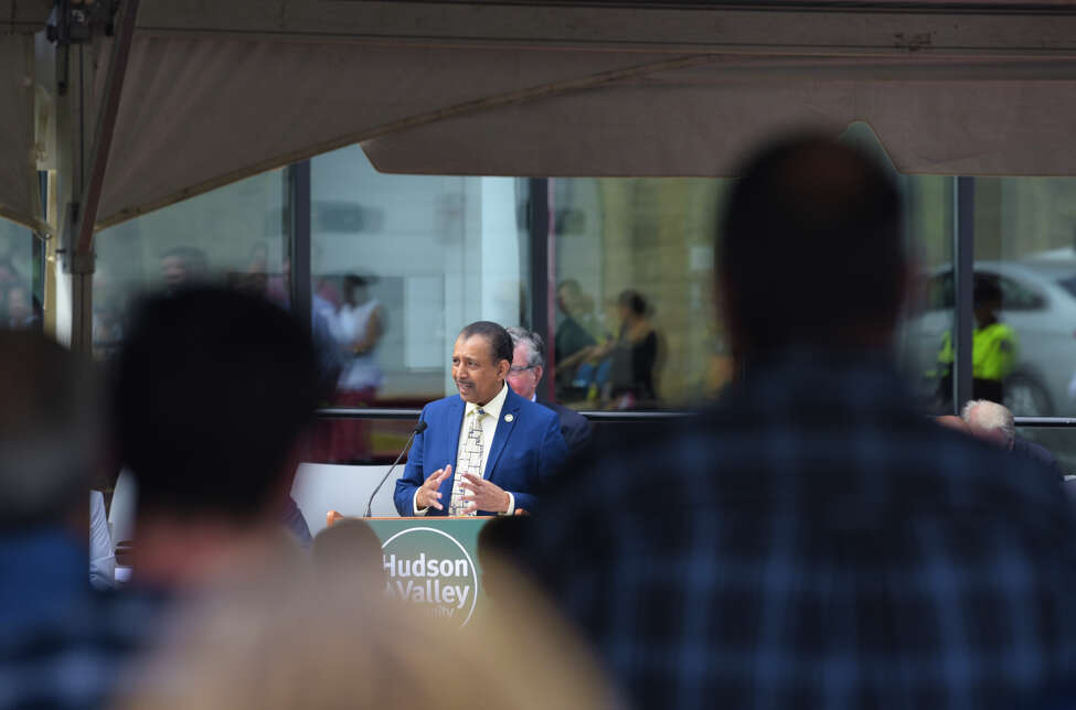 Roger Ramsammy, president of Hudson Valley Community College, addresses those gathered for the ribbon cutting ceremony for the Gene F. Haas Center for Advanced Manufacturing Skills at HVCC on Tuesday, Aug. 27, 2019, in Troy, N.Y. (Paul Buckowski/Times Union)