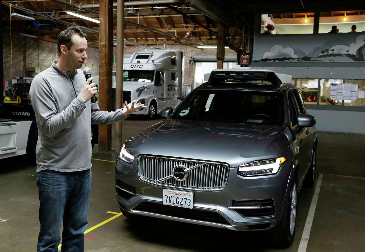 Anthony Levandowski, then head of Uber's self-driving program, speaks about their driverless car in San Francisco on Dec. 13, 2016.