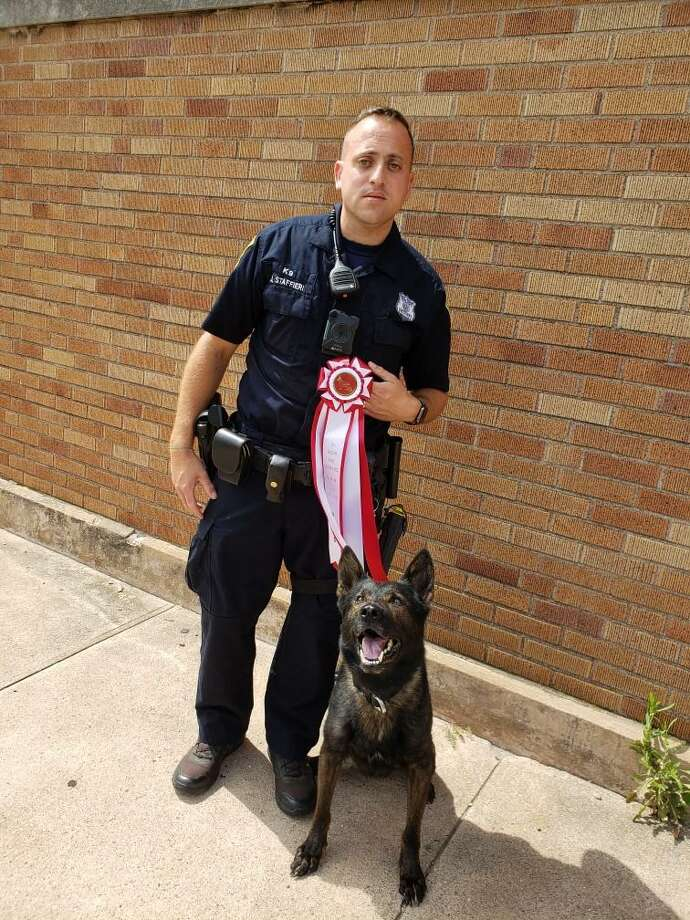 New Haven Police Officer Joseph Staffieri and his canine partner, Magnum, finished second in this year's Dream Ride Canine Challenge Saturday. Photo: New Haven Police Department