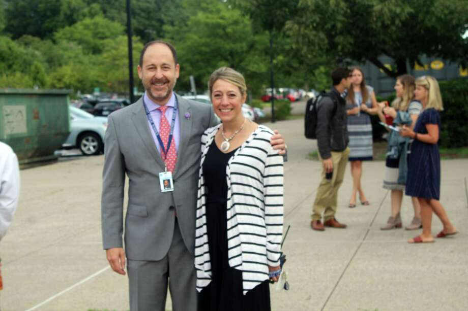 Coleytown Middle School Principal Kris Szabo, right, has been placed on administrative leave after being charged with breach of peace. Taken Aug. 27, 2019 in Westport, CT. Photo: Lynandro Simmons /Hearst Connecticut Media /