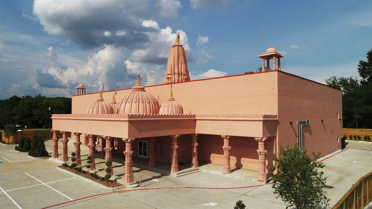 Aerial image of the newly constructed Bochasanwasi Akshar Purushottam Swaminarayan Sanstha (BAPS) temple on Major Drive in Beaumont. The BAPS organization is a religious and social group within the Swaminarayan branch of Hinduism. Photo taken Wednesday, 8/14/19