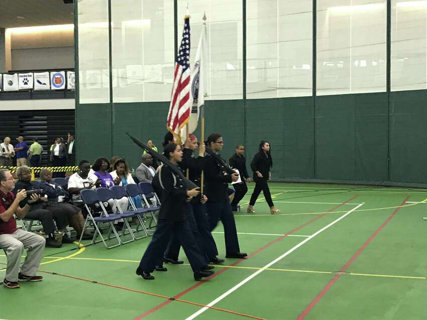 The Hillhouse High School JROTC at the 2019 New Haven Public Schools Convocation ceremony on Aug. 27. 2019.