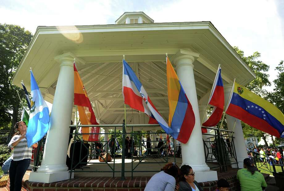 The Paradise Green gazebo was decked out with flags representing all of the Latin countries for the inaugural Stratford Latin Music Festival in Stratford in 2013. The annual festival returns Sept. 15. Photo: Brian A. Pounds / Hearst Connecticut Media File Photo / Connecticut Post