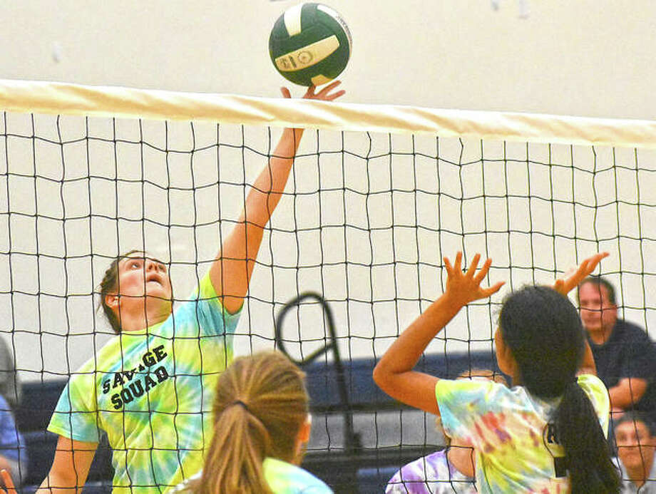 Madison Webb goes up for a tip during the team's scrimmage at Meet the Griffins. Photo: Matt Kamp|The Intelligencer