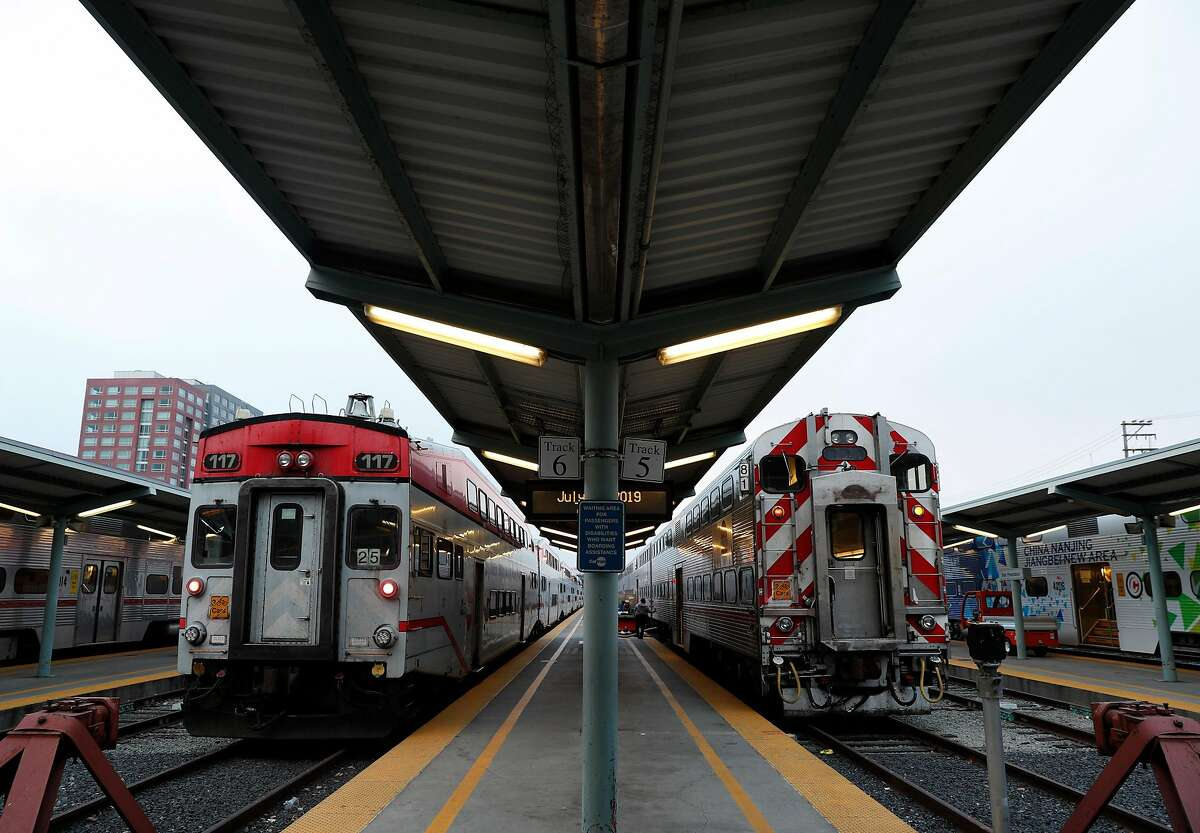 Trains wait on tracks 5 and 6 for passengers at the Caltrain Station in San Francisco, Calif., on Thursday, July 18, 2019. Business leaders and transportation officials are putting together a sales tax ballot measure for next year that would generate billions for transportation infrastructure in the Bay Area. Top on their wish list is the downtown extension of Caltrain, with a tunnel running from the Mission Bay Area to the Transbay Terminal.