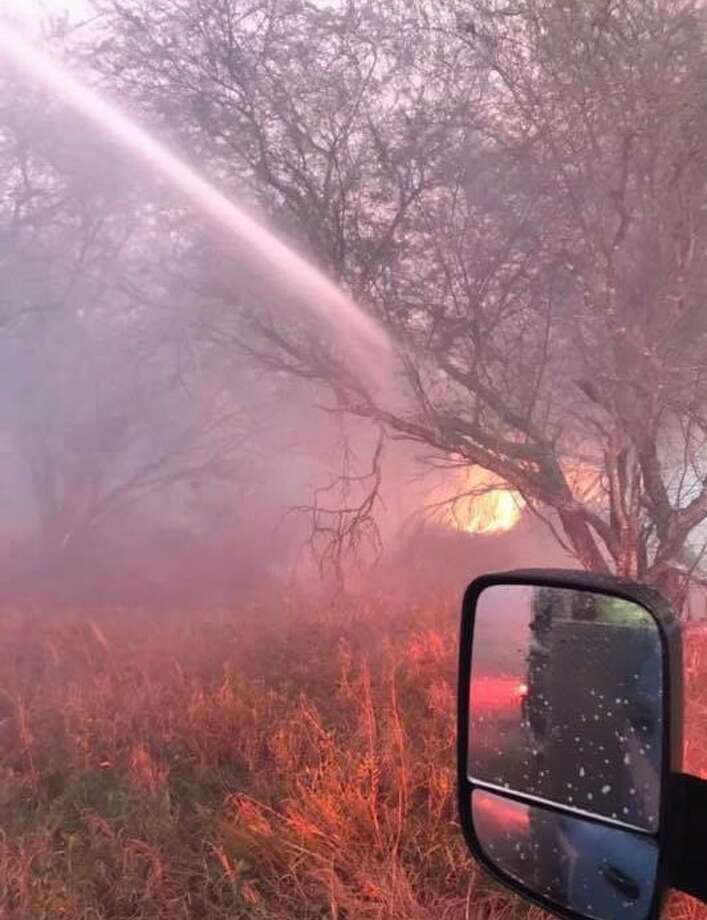 The Victoria Office of Emergency Management said its agency was working in conjunction with other city of Victoria agencies to control the brush fire just north of the city of Refugio, Texas. Photo: Fulton Fire Department