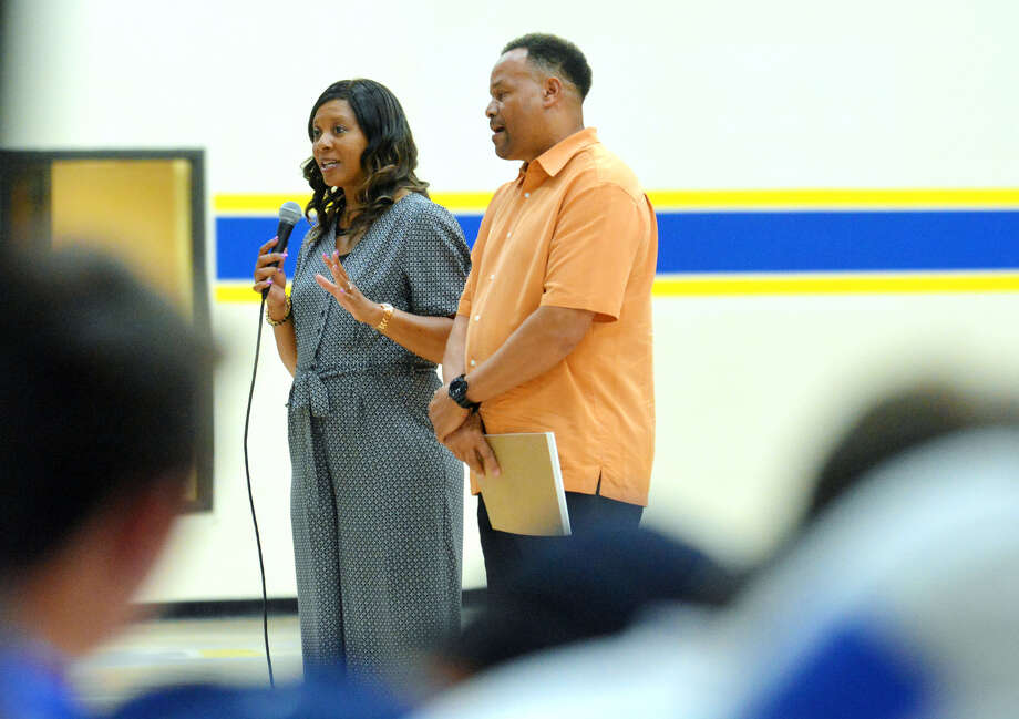 Regina and Hiawatha Culver were the keynote speakers during Sunday night's Team Wayland event put on by the athletic department in the Hutcherson Center. Photo: Nathan Giese/Planview Herald