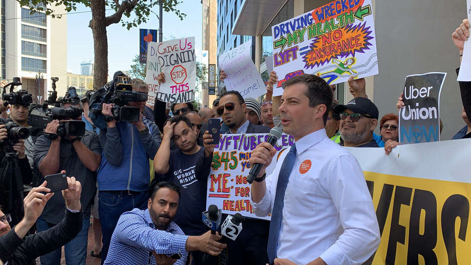 Pete Buttigieg, mayor of South Bend, Ind. and 2020 presidential candidate, made a surprise appearance at a protest outside Uber headquarters in San Francisco on Aug. 27, 2019. Buttigieg's campaign provided this photo of the appearance. Photo: Courtesy Of Pete For America