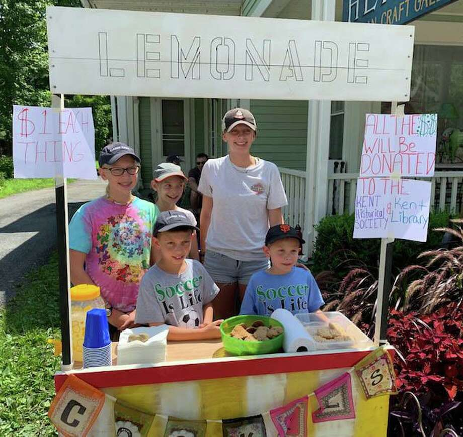 Descendants of Emily Hopson, a dedicated Kent Memorial Library volunteer and town doyenne, visiting from out of state, hosted a lemonade stand on Main Street during Kent's recent Sidewalk Festival. Lucas, Martin, Isabel, Sophie and Kayla donated $52 to the library. Photo: Courtesy Of Kent Memorial Library / The News-Times Contributed