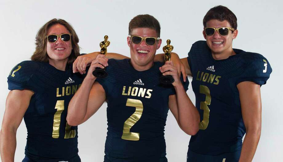 Lake Creek Lions Jack Basham (12), Levi Ryan (2) and Blake Trummell (3). Photo: Jason Fochtman, Houston Chronicle / Staff Photographer / Houston Chronicle