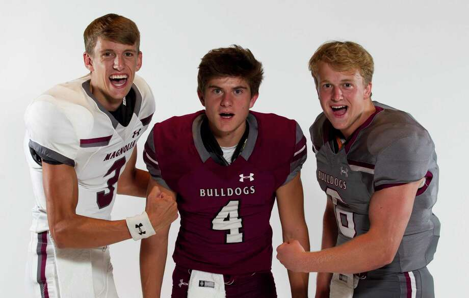 Magnolia football players Brady Heitzmann (3), Travis Moore (4) and Ethan McEntire (6). Photo: Jason Fochtman, Houston Chronicle / Staff Photographer / Houston Chronicle