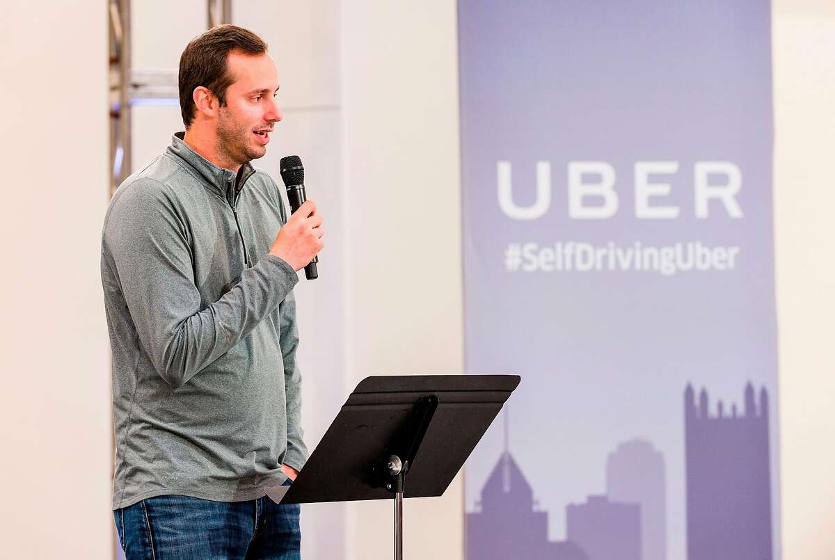 Anthony Levandowski, Otto Co-founder and VP of Engineering at Uber, speaks to members of the press during the launch of the pilot model of the Uber self-driving car at the Uber Advanced Technologies Center on September 13, 2016 in Pittsburgh, Pennsylvania. - Uber launched a groundbreaking driverless car service, stealing ahead of Detroit auto giants and Silicon Valley rivals with technology that could revolutionize transportation.