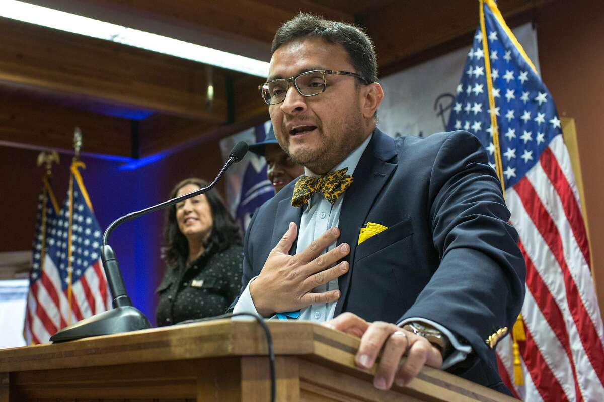 David Campos, an attorney and former member of the San Francisco Board of Supervisors, speaks during the 'Thank you' reception held by Speaker of the House of Representatives, Nancy Pelosi on Sunday, January 6, 2019 in San Francisco, Calif.