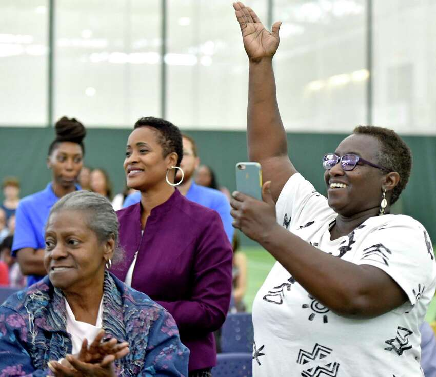 Members of the New Haven Board of Education, Superintendent of Schools Carol Birks, teachers, staff, other officials of the New Haven Public Schools, Mayor Toni Harp, alderman and some New Haven Public School students rally during the 2019-20 school year convocation to promote a community spirit for the school system Tuesday morning at the Floyd Little Athletic Center at James Hillhouse High School.