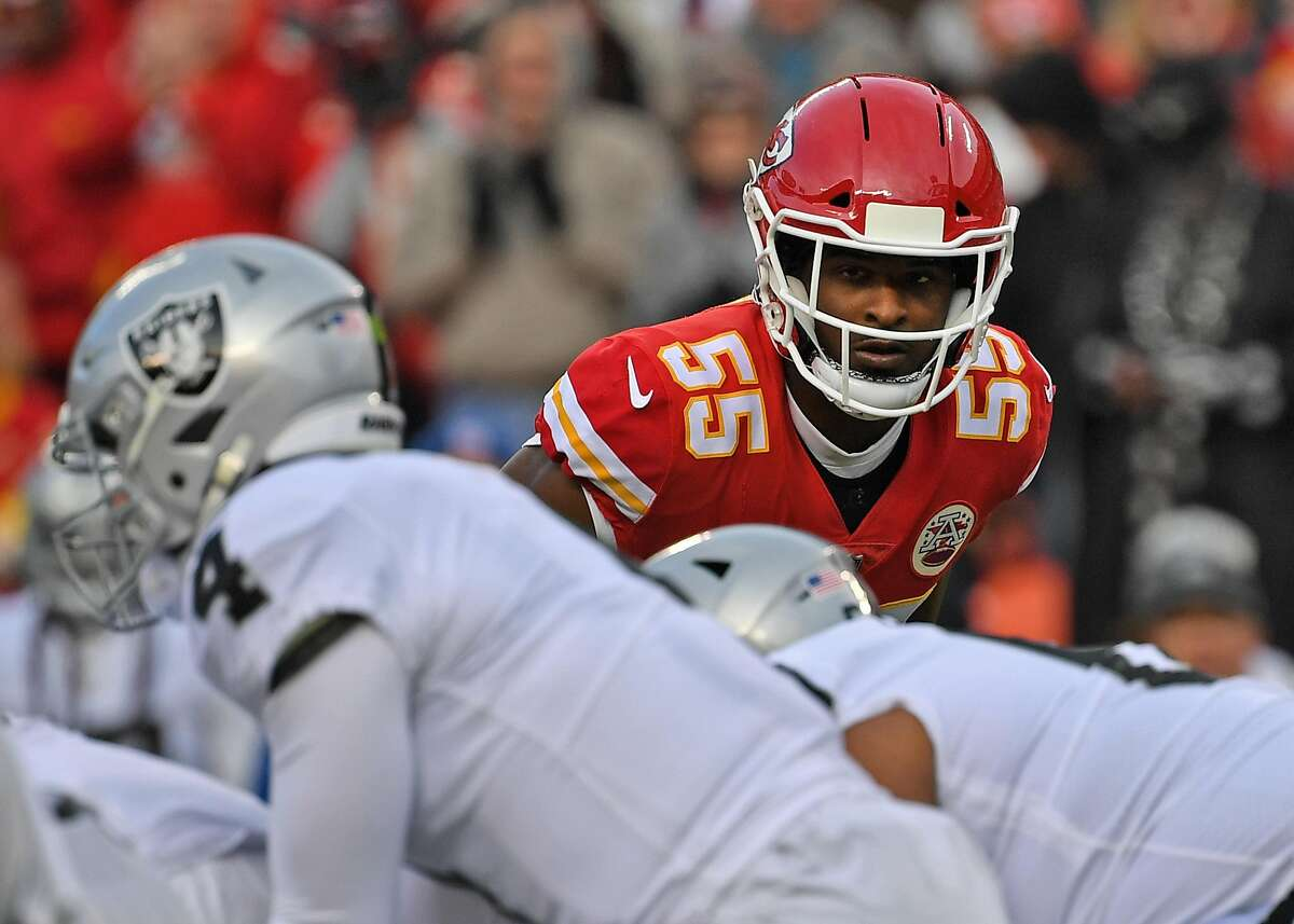 KANSAS CITY, MO - DECEMBER 30: Outside linebacker Dee Ford #55 of the Kansas City Chiefs looks across the line during the first half against the Oakland Raiders at Arrowhead Stadium on December 30, 2018 in Kansas City, Missouri. ~~