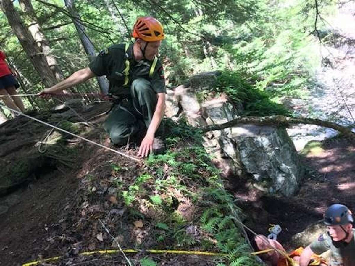Forest rangers and local first responders used a rope system to hoist an injured Gloversville woman out of a Hamilton County ravine on Aug. 20, 2019.